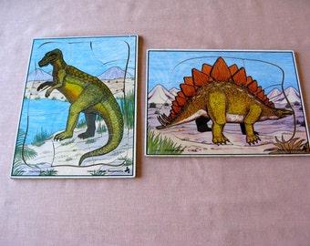 Vintage Dinosaur  Judy Instructo Puzzles Excellent 1984 STEGOSAURUS TRACHODON  Awesome School