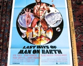 """Uncommon Last Days of Man On Earth Orig Movie Poster 1974  ONE SHEET 27"""" X 41"""" Science Fiction"""