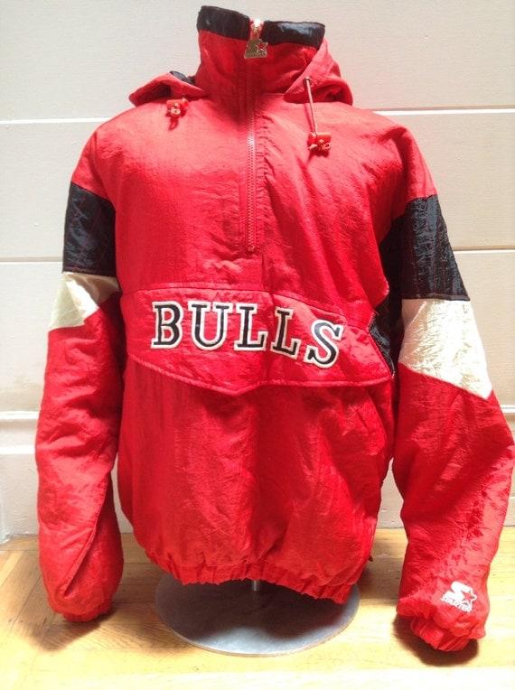 vintage chicago bulls rare pullover starter jacket large. Black Bedroom Furniture Sets. Home Design Ideas