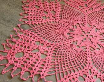 Large Pineapple doily Crochet Doilies, lace doilies, crocheted place mat, centre piece, Photography prop, napkin, handmade doilies, pink