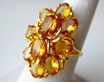Vintage Ring Topaz Jeweled Cluster Gold Washed Sterling Silver Cocktail Ring size 7 1/2