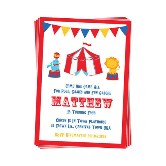 PRINTABLE Circus Party Invitation