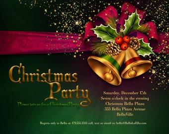 Christmas Party Invitations, Christmas Card, Christmas Invitation, Holiday Cards