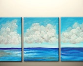 clouds and ocean talk - original abstract painting, 48x20inch  on stretched canvases,ready to hang