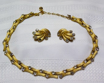 Crown Trifari gold tone textured bamboo rods..rhinestone embedded..double chain Necklace and clip earrings