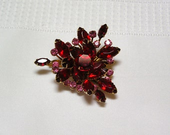 Vintage Ruby Red..Marquis Cut..Faceted..pink rhinestone accents too..Brooch