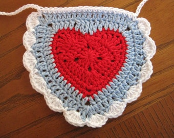 Heart Bunting Crochet-Garland-Red, White, Blue - Valentine Bunting - Wedding Garland - Heart Bunting - Hearts Garland - Crochet Decoration