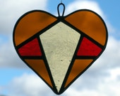 Abstract Stained Glass (Love Heart) in Autumn colours