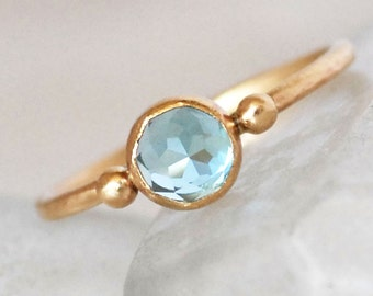 Swiss Topaz Gold Ring - Blue Topaz Ring - Topaz Gold Dot Ring- Eco-Friendly Recycled Gold