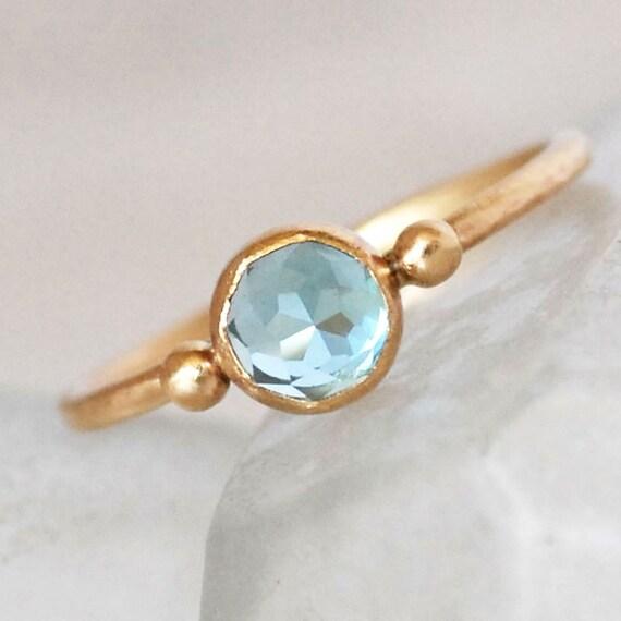 Swiss Topaz Gold Ring - Blue Topaz Ring - Topaz Gold Dot Ring- Eco-Friendly Recycled Gold