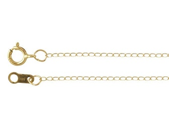 14K Yellow Gold 0.9mm Curb Chain