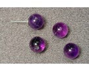 2 Half-drilled Natural Amethyst Beads,