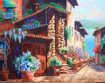 Oil Painting, Original art, Landscape Painting, SUNLIT TUSCANY, Large Oil Painting, Architecture by Rebecca Beal