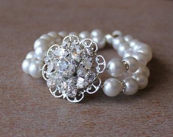 Vintage Wedding Bridal Bracelet, Pearl Wedding Cuff, Crystal Bridal Jewelry, Bridesmaid Bracelet. SOPHIE