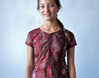 Indian Dress Garnet Floral Embroidered Top and Skirt 2Piece Outfit Cocktail Evening size Small