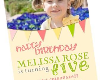 Ribbon Banner Birthday Party Invitation, Printable, Girl, green, Pink, Streamer, Bunting flag, Digital File, Invite, 5x7