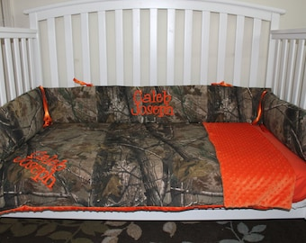 Camo REALTREE fabric and Orange minky dot baby Crib Bedding Set with and FREE Monograms