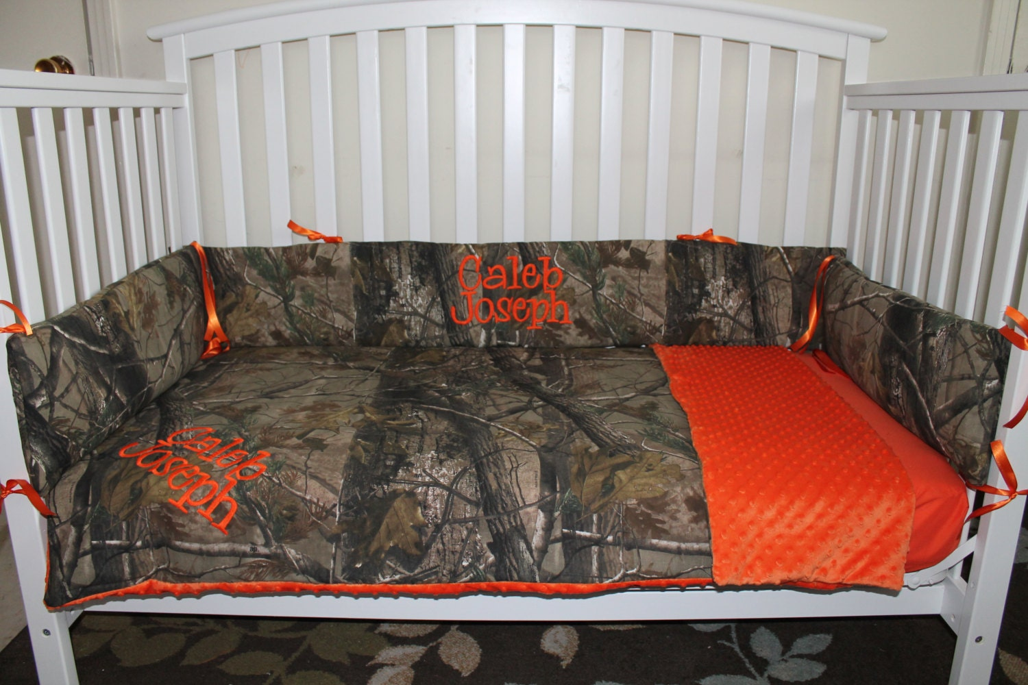 Camo REALTREE Fabric And Orange Minky Dot Baby Crib Bedding
