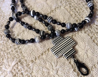 Black and White Stripe Lanyard with Cross