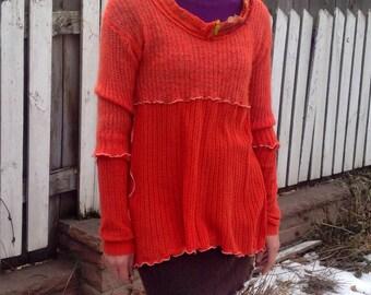 Orange Sweater Upcycled Hoodie