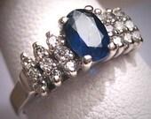 Antique Sapphire Diamond Wedding Ring Retro Art Deco