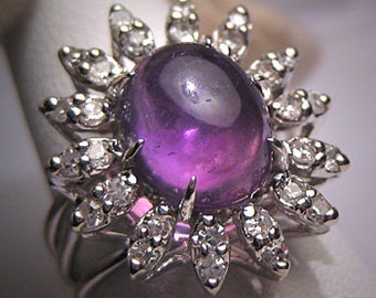 Antique Amethyst Diamond Ring Vintage Art Deco Wedding White Gold