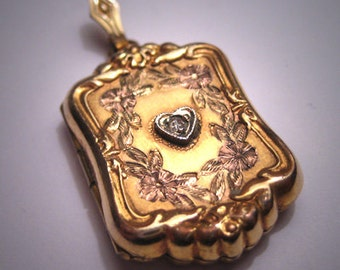 Antique Victorian Gold Diamond Locket Pendant Vintage
