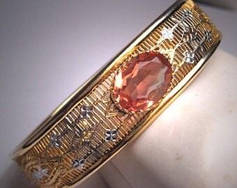 Antique Filigree Bracelet Vintage Art Deco Pink Paste