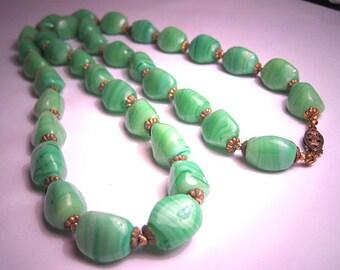 Antique Jade Art Glass Necklace Vintage Art Deco 1920