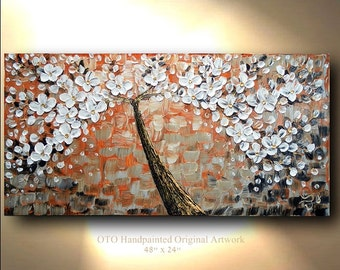 ORIGINAL Painting Rust Gold white Sienna Brown Abstract Art painting tree flower Large  Modern Contemporary Artwork CanvasPainting by OTO