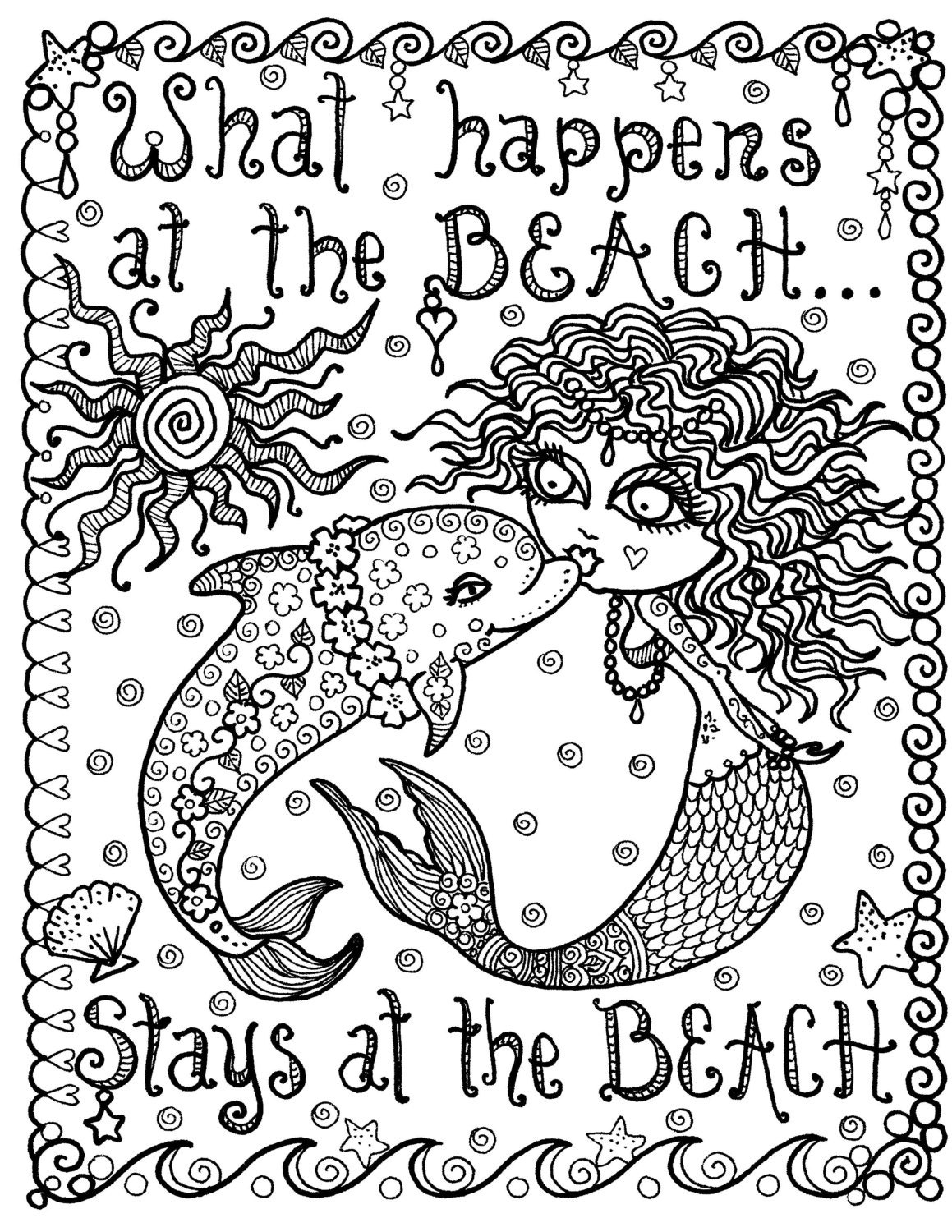 Mermaid And Dolphin What Happens At The Beach Instant Download