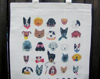 DOGS Natural Canvas Tote Bag