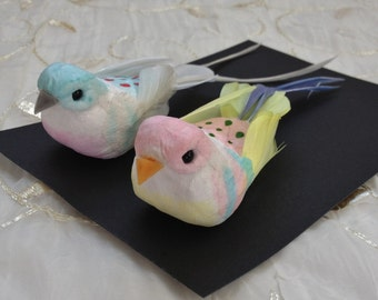 Two Decorative Artificial Birds - Craft Embellishment, Home Decor