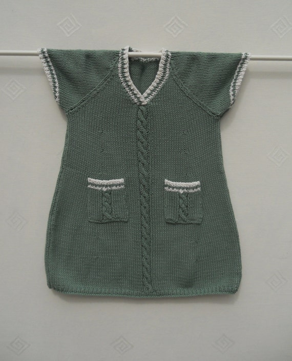 Dress /tunic/sweater, hand knitted in soft green soya cotton. Suit baby girl or toddler age 1-2 years