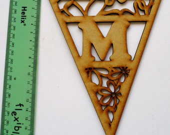 2mm MDF Letter Bunting Flags - Flowers