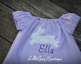 Personalized Easter Dress, Super Soft Bunny Applique, Choose Your Colors