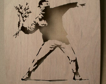 Banksy Love Is In The Air Rioter  Wooden Stencil