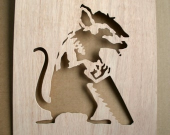 Banksy Sawing Rat  Wooden Stencil