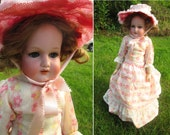 """Beautiful Antique German Bisque Doll - 21"""" AM 370 Armand Marseille Composition Doll Early Fashion Girl Blue Glass Eyes Old Vintage 20s Toy"""