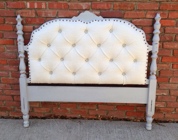 Vintage Upholstered Headboard Tufted Gray Wood By