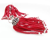 Red Beaded Tassel Dangly Statement Earrings - Sterling Silver Earwire