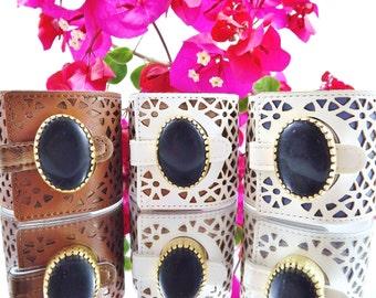 Chunky Black Jade Gemstone Statement Cuff - Soft Geometric Laser Cut Faux Leather