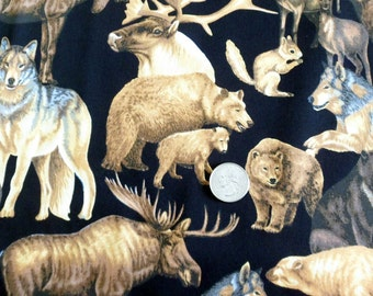 Moose Fabric Bear Fabric Elk Fabric Cotton Fabric Sewing Fabric Quilting Fabric Craft Supplies Cotton Classic