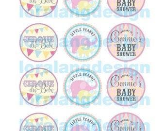 DIY Printable Cirque Du Bebe Party Circles Cupcake Toppers