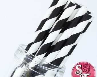 Stripe Black Party Paper Straws - Cake Pop Sticks - Pixie Sticks - Qty 25