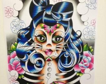 Cat Girl A3 Print