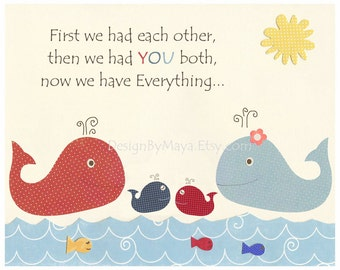 Bathroom Art Prints - Baby Twins Print For The Bathroom, Kids Whale Bathroom Wall Quotes - Bathroom Art Print In Navy Blue And Red Size 8x1