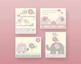 Baby Girl Nursery Wall Art, Baby Girl Nursery Decor, Nursery wall art for Girl Room Decor // Pink and Gray // Set of 4 11x14 Nursery Prints