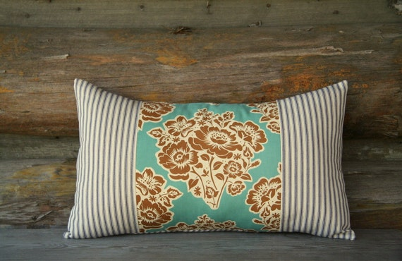 Teal And Brown Floral Decorative Pillow Cover / 12 X 20