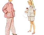 1950s Girl's Pajamas Pattern/ Vintage 50s McCalls Girl's Pajamas in Two Lengths Sewing Pattern 8605/ Size 6